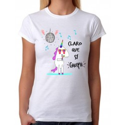 Camiseta Mujer Claro que Si Guapi entallada