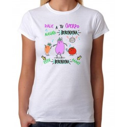 Camiseta Dale a tu cuerpo alegría berenjena