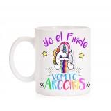 Taza Yo el Finde Vomito Arcoiris