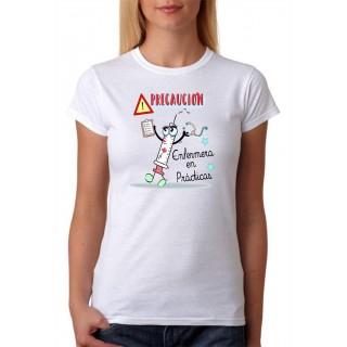Camiseta Mujer Precaución enfermera en prácticas