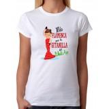 Camiseta mujer Más flamenca que la gitanilla del wassap